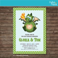 Dragon Baby shower Customized printable Invitation Thank you card
