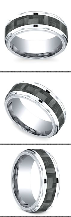 This exquisite cobalt Men's wedding band is 9 millimeters wide and features a drop beveled edge and a grey carbon fiber inlay. Comfort fit and proudly made in the USA. Wedding Ring Styles, Wedding Rings Vintage, Wedding Ring Bands, Cool Rings For Men, Unique Rings, Most Beautiful Engagement Rings, Wedding Men, Wedding Advice, Luxury Wedding