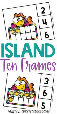 Teach little kids counting, number sense and subitizing with these adorable Free Printable Island Ten Frame Clip Cards. Download yours today! #preschool #math #island #palmtrees #centers #counting #numbers #tenframes #kindergarten Sensory Activities Toddlers, Kids Learning Activities, Preschool Themes, Preschool Printables, Preschool Activities, Free Printable Worksheets, Free Printables, Diy Crafts For Kids Easy, Subitizing