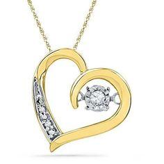 Great Valentine Gift 10K Yellow-gold 0.04CTW DIAMOND Pendant