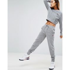 Fila Relaxed Joggers In Luxe Velour Co-ord ($68) ❤ liked on Polyvore featuring activewear, activewear pants, grey, gray sweatpants, cuff sweatpants, grey jogger sweatpants, fila sweatpants and velour sweatpants