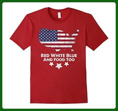 Mens Red White Blue And Food Too T-Shirt Medium Cranberry - Food and drink shirts (*Amazon Partner-Link)
