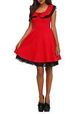 Red & Black Lace Dress, , hi-res