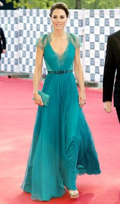 Kate knocked it out of the park wearing a jade green chiffon pleated gown -- with lace cap sleeves and a jeweled waistline -- from Jenny Packham's Spring 2012 collection.