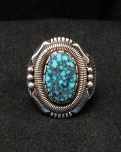 Kingman Turquoise Navajo Sterling Silver Ring sz9-1/4, Will Vandever