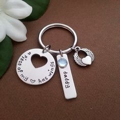 A Piece Of My Heart Has Wings Memorial Keepsake Key Chain With Personalized Name Tag and Birthstone