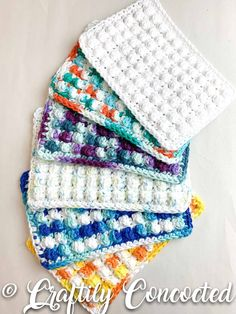 """These crocheted scrubby dish cloths are handmade and 100% cotton. Use these cotton cloths in the kitchen to clean and scrub dishes, general household cleaning, face washcloths, shining things that should be shiny, and more!! -Sold individually or as a 3-pack of cotton scrub pads. -Each dishcloth is approximately 7.25"""" x 5"""", or 18.4 cm x 13 cm. -Orders ship free to the USA. -Machine washable. -The cotton dishcloths pictured are a depiction of the color and texture you will receive, but may not b Crochet Dishcloths, Crochet Yarn, Cotton Pads, Cotton Towels, Mesh Bows, Crocodile Stitch, Handmade Gift Tags, Crochet Projects, Crochet Patterns"""