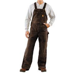 Overalls | Carhartt Quilt-Lined Bib Overalls - Sandstone Duck (For Men) in Dark ...