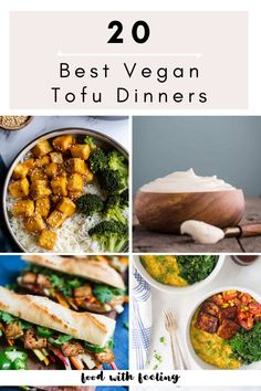 Over 20 of the BEST tofu recipes on the internet! You'll find some great tofu dinner recipes to try that will make you fall in love with this meatless option! Tofu Dinner Recipes, Best Tofu Recipes, Vegetarian Dinners, Vegan Recipes Easy, Breakfast Recipes, Vegetarian Recipes, Cooking Recipes, Tofu Dessert, Grilled Tofu