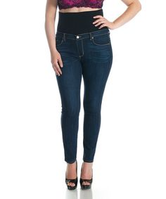 This Dark Blue Skinny Jeans - Plus by Tummy Trimmer Denim is perfect! #zulilyfinds