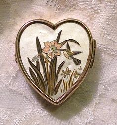 Vintage Pill Box Heart Shape Hummingbird by RosePetalResources, $28.00