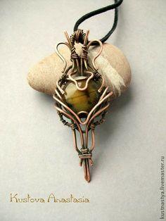 """Кулоны, подвески ручной работы. Ярмарка Мастеров - ручная работа Кулон wire wrap """"Осеннее солнце"""". Handmade."""