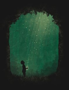 art conceitual Fireflies by ~laurenzloehr on deviantART.Theyre lightning bugs, but its still a good picture. Art And Illustration, Fantasy Kunst, Fantasy Art, Main Manga, Painting Inspiration, Painting & Drawing, Hope Painting, Amazing Art, Awesome
