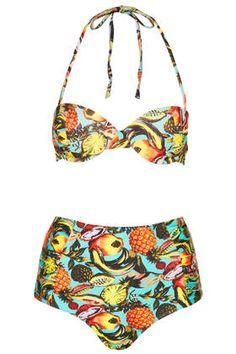 tropical fruit high-waist bikini.