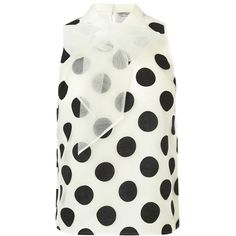 Coast Lorelly Organza Spot Blouse, Mono (3,675 MKD) ❤ liked on Polyvore featuring tops, blouses, tie neck blouse, white tie neck blouse, bow blouse, bow tie neck blouse and polka dot blouse
