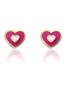 Hot Pink Heart Stud Earring by Little Miss Twin Stars at Gilt