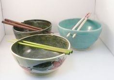 Rice Bowl Noodle Bowl in Turquoise aquamarine by BlueSkyPotteryCO, $40.00