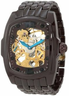 Invicta Men's 1115 Lupah Mechanical Gold Tone Skeleton Dial Brown Watch Invicta. $249.99. 60 second subdial at 9:00. Gold tone skeleton dial with blue metallic hands; exhibition case back. Flame-fusion crystal; brown ceramic case and bracelet. Water-resistant to 30 M (99 feet). Mechanical hand-wind movement. Save 82%!