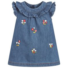 Explore our Mayoral collection for boys, girls and babies including dresses, tops, coats and more. Shop Mayoral baby and kids clothing plus accessories. Denim Frocks, Little Girl Dresses, Girls Dresses, Embroidered Denim Dress, Embroidery On Clothes, Floral Embroidery, Kids Dress Wear, Baby Dress Design, Baby Dress Patterns