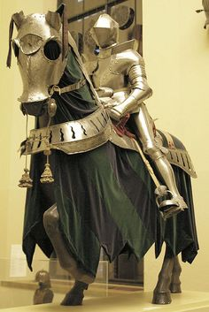 Barding: Germany, 1500-1600. Armour for man: Austria (Innsbruck: Anton Hörburger) 1565-70, with some modern restorations.