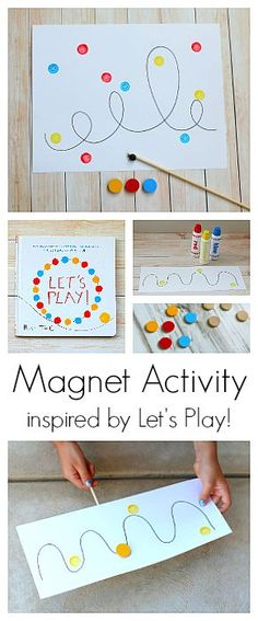 Magnet Activity for Kids inspired by the popular children's book, Let's Play, by Herve Tullet! Kids can explore the science of magnetism while creating art and working on fine motor skills! Perfect for kindergarten and preschool! Motor Activities, Science Activities, Educational Activities, Preschool Activities, Science Crafts, Educational Websites, Preschool Science, Science For Kids, Kids Inspire
