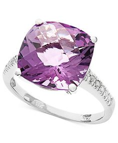 14k White Gold Ring, Pink Amethyst (6 ct. t.w.) and Diamond Accent