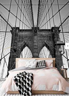 Vlies fotobehang Close-up Brooklyn Bridge - Steden en skyline behang Brooklyn Bridge, Travel Must Haves, Decorative Accessories, Close Up, Skyline, New York, Poster, Walls, Decoration