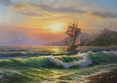 pinturas-al-oleo-de-marinas-bello-paisaje-con-un-barco.jpg (560×400)