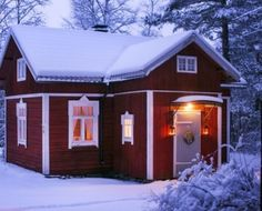 visit our website for the latest home decor trends . Red Houses, White Houses, Red Cottage, Tiny House Cabin, Beautiful Buildings, House In The Woods, Building A House, House Design, Cottages