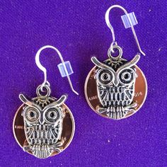 Lucky Penny Earrings with Owl Charms - on sterling earwires - pinned by pin4etsy.com