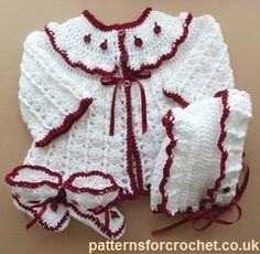 Free baby crochet pattern 3 piece outfit eb-link usa--just needs a diaper cover to complete the ensemble. Baby Girl Crochet, Crochet Bebe, Crochet For Kids, Knit Crochet, Crochet Baby Sweaters, Crochet Baby Clothes, Baby Knitting, Crochet Baby Cardigan, Baby Patterns