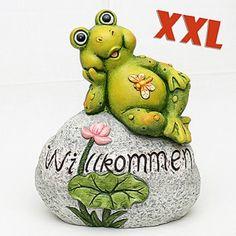 """Vogtland-Souvenir`s - XXL-Keramik Frosch auf Stein """"Willkommen"""""""