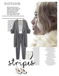 """stripes!"" by chintyar ❤ liked on Polyvore featuring GUESS by Marciano, Lulu Guinness, Alexander Wang, MANGO, white, stripes and grey"
