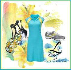 Rock this blue and yellow combo on the golf course! Exclusive at lorisgolfshoppe.polyvore.com #golf #polyvore #ootd #lorisgolfshoppe