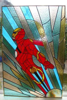 Beautiful Iron Man Stained Glass Window
