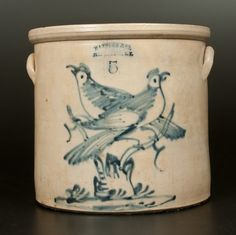 """Sold $550 Scarce and Fine Five-Gallon Stoneware Crock with Double-Bird-on-Stump Decoration, Stamped """"HAXSTUN & CO. / FORT EDWARD, NY,"""" circa 1875"""