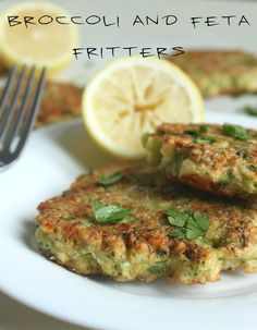 Broccoli and feta fritters - crispy and chewy on the outside, with a soft, creamy centre - perfection!! #vegetarian #meatlessmonday
