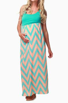 Turquoise White Chevron Maternity Maxi Dress | Pink blush ...