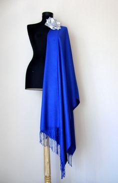 Royal Blue Shawl Sapphire Blue Solid Color Pashmina by RosaShawls, $25.00