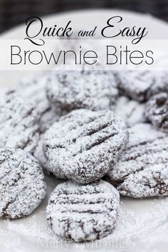 Quick and easy brownie bites are a snap to make with a packaged brownie mix and chocolate chips, rolled in powdered sugar. Kids and adults alike love them!