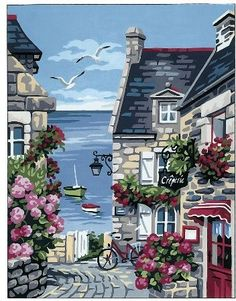 Road to the Port needlepoint canvas Flower Painting Canvas, Canvas Art, Seascape Paintings, Landscape Paintings, French Images, Canvas Designs, Needlepoint Canvases, Watercolor Landscape, Beautiful Paintings
