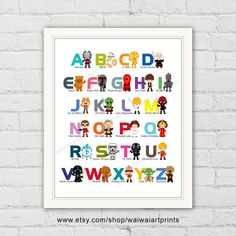 Star Wars Alphabet Print. Numbers Print. A-Z by waiwaiartprints