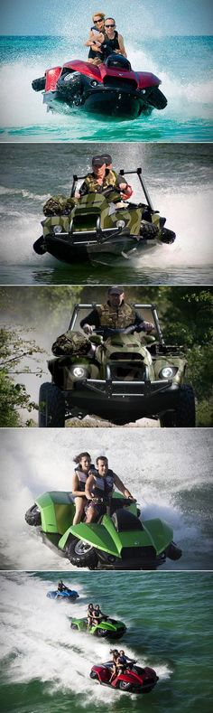 Amphibious Gibbs Quadski XL is Large Enough for 2 People to Ride, Goes from Land to Sea at the Push of a Button