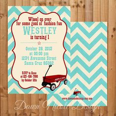 Whimsical Vintage little red wagon with teal chevron pattern 5x7 (digital and printed versions available)
