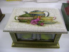 Caixa de chá craquelada