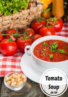 Super Simple Tomato Soup Hot Soup, Tomato Soup, Super Simple, Chana Masala, How To Dry Basil, Slow Cooker, Carrots, Frozen, Stuffed Peppers
