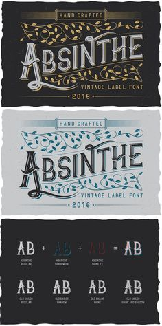 Absinthe is made in strong and dynamic label style #Typeface. #Font is perfect for any labels design of absinthe, brandy, whiskey, rum,gin, beer etc. #calligraphy