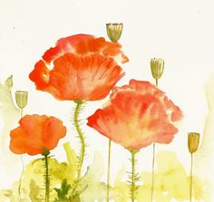 Red Poppies Original Watercolor / Original Art by sublimecolors, $24.99