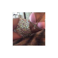 East Hampton Hottie Pink Gold Jewel Rhinestone Gemstone Metal Chain... ($198) via Polyvore featuring swimwear, bikinis, halter-neck crop tops, halter top, metal bikini, halter bikini and halter bathing suit tops