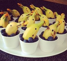 Dolphin Tale - Banana dolphins in the blueberry sea. Banana dolphins in the blueberry sea. Banana dolphins in the - Dolphin Party, Dolphin Tale, Cute Food, Good Food, Funny Food, Dessert Aux Fruits, Mermaid Parties, Mermaid Party Food, Snacks Für Party